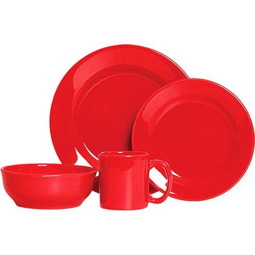 Aparelho de Jantar Scalla Standard com Caneca 16 Peças Vermelho