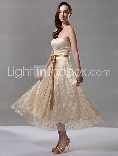 lan ting bride tealength strapless bridesmaid dress open back sleeveless lace