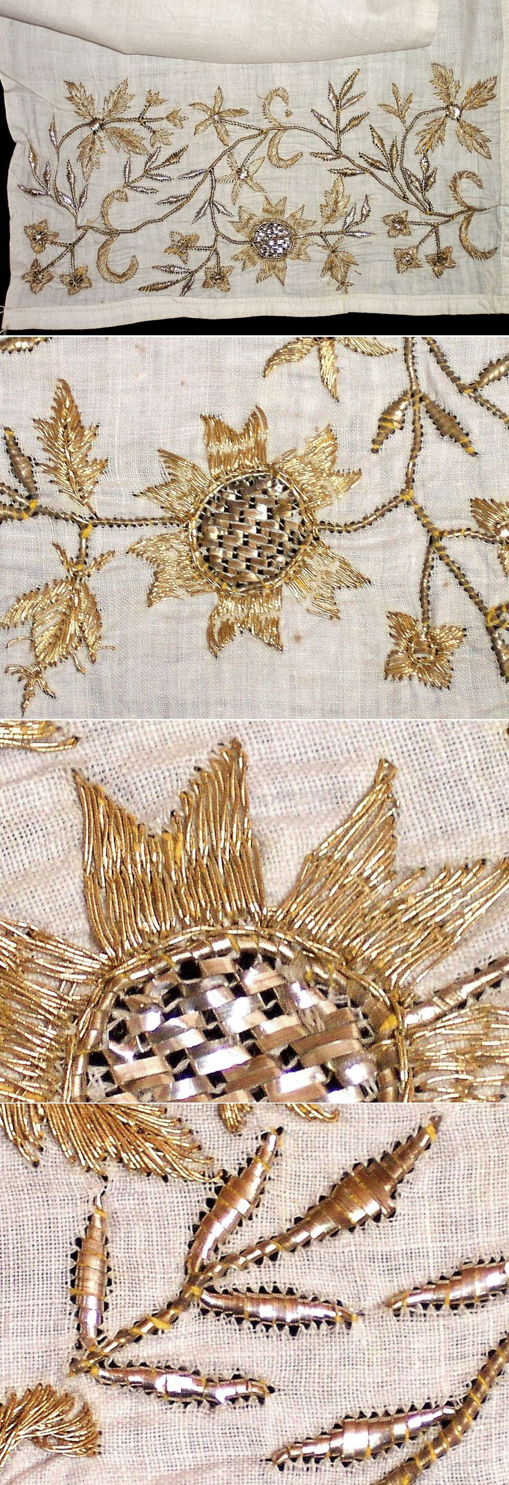 One of both embroidered ends of a woman's uçkur (waistband/sash), + close-ups. From the Bursa region, late 19th c. The embroidery is 'two-sided' (identical on both sides of the fabric) and is executed in both 'golden' metallic thread and 'tel kırma' (motives obtained by sticking narrow metallic strips – often silver - through the fabric and folding them.). (Inv.nr. brdw038 - Kavak Costume Collection - Antwerpen/Belgium).