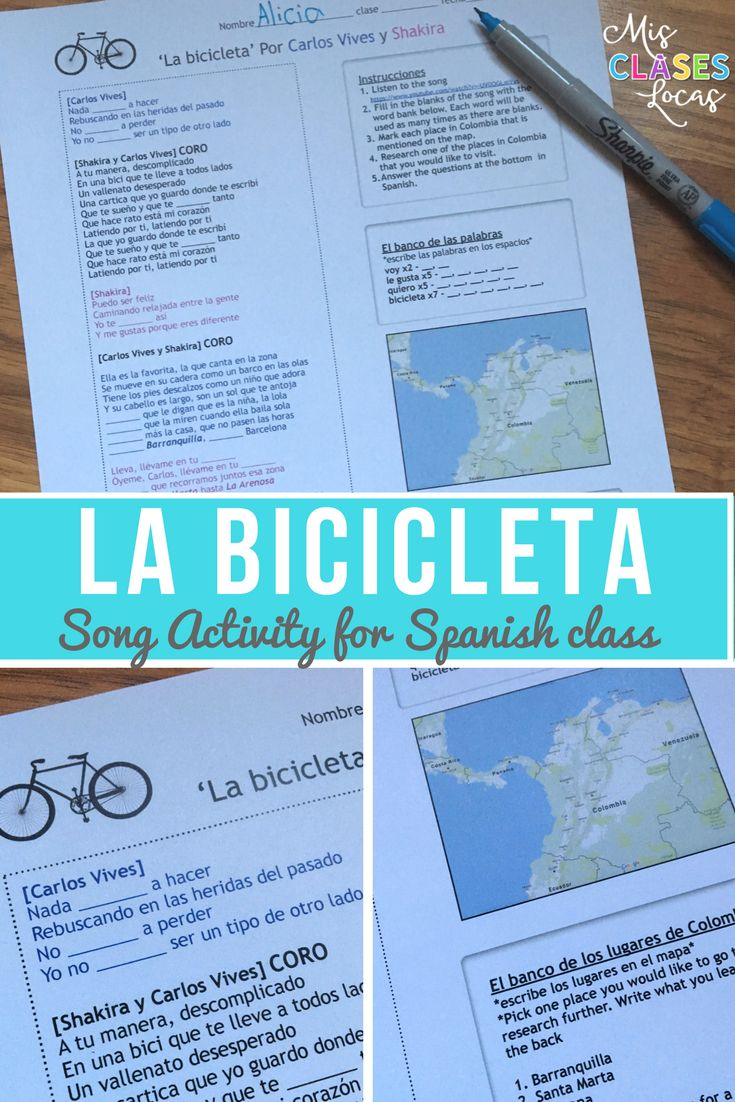 Fun song activity for the hit song La Bicicleta from Carlos Vives & Shakira.