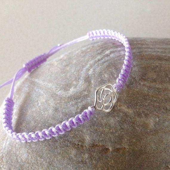 Delicate sterling silver Rose pendant macrame/friendship bracelet, Sterling silver, macrame charm adjustable bracelet, summer, bridesmaid on Etsy, £6.00