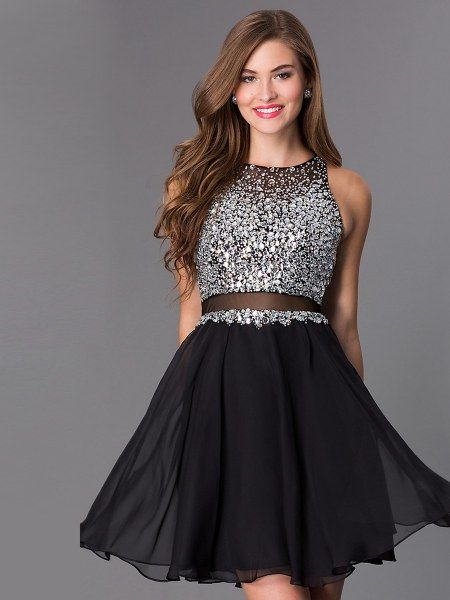 A-line/Princess Scoop Short Illusion Black Homecoming Dress with Beading