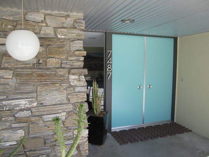Steel Mid Century Modern front doors #door #blue