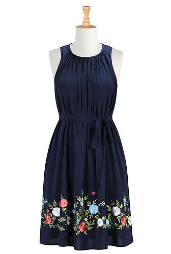 Floral embellished crepe shift dress from eShakti