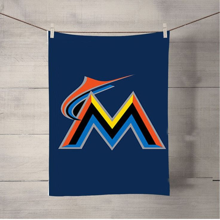 Miami Marlins Baseball Logo Blue Bath Towel Beach Towels
