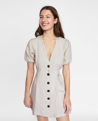 Vestido blanco tirantes botones zara