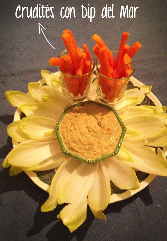 crudites con dip de palitos de cangrejo, anhoas y mejillones