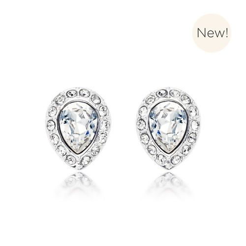 Christie Pear Stud Earrings with Clear Swarovski® Crystals