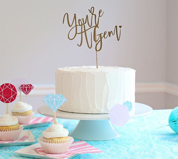 """Make this DIY """"You're A Gem"""" cake topper in minutes for birthdays, baby showers and just special sweet thank yous! 