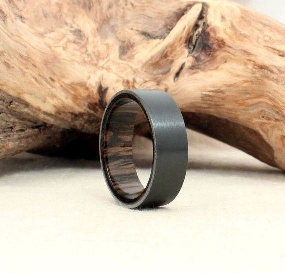 Mens Black Wedding Band with Wood Oak