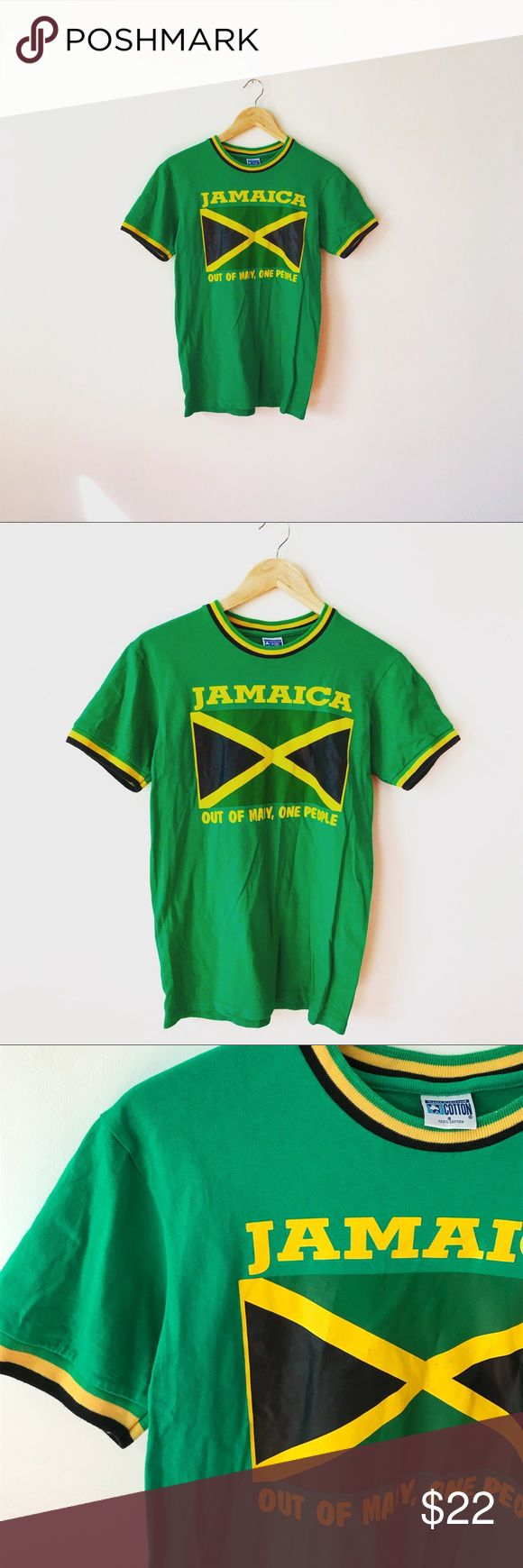 {vintage} • bright green JAMAICA flag theme shirt + + beige green JAMAICA theme jersey type shirt   •• size: small •• condition: excellent — no stains, holes, discoloration or cracking  •• colors are very bright, needs to be washed to be broken in a bit  — #jersey #flag #jamaica #green #represent #jamaican #football #soccer #pride Vintage Shirts Tees - Short Sleeve
