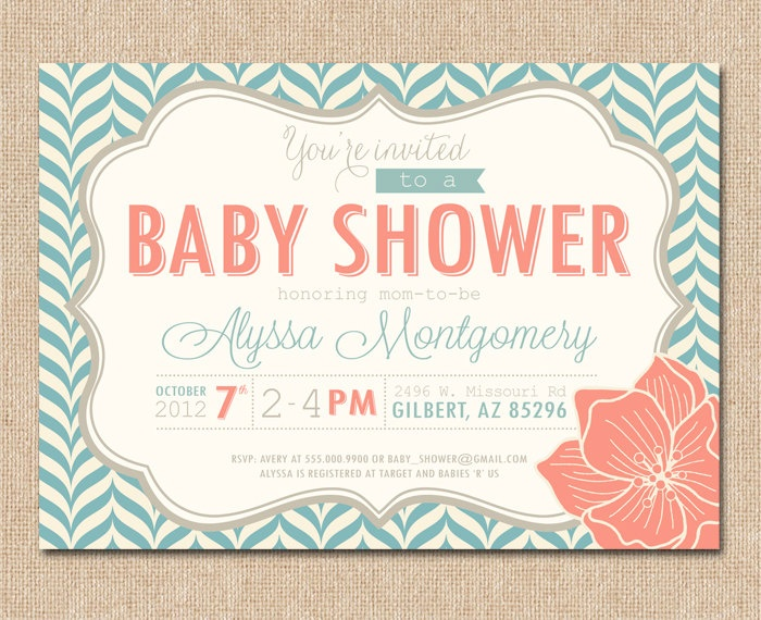 PRINTABLE BABY SHOWER Invitation - Aqua and Coral - Modern Pattern. $14.00, via Etsy.