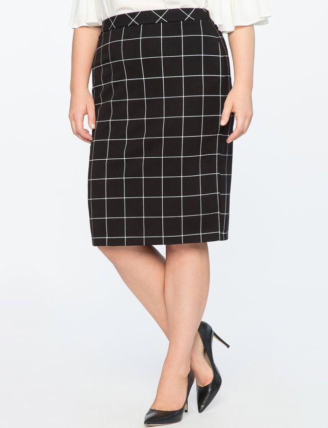 9-to-5 Windowpane Skirt | Women's Plus Size Skirts