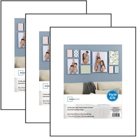 Mainstays 11x14 Matted To 8x10 Format Picture Frame Black Set Of 3 Walmart Com In 2020 Picture Frames 11x14 Picture Frame Mainstays