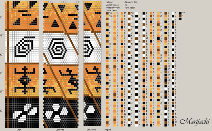 Bead crochet rope pattern - 4 shapes - 5 colors, 18 around