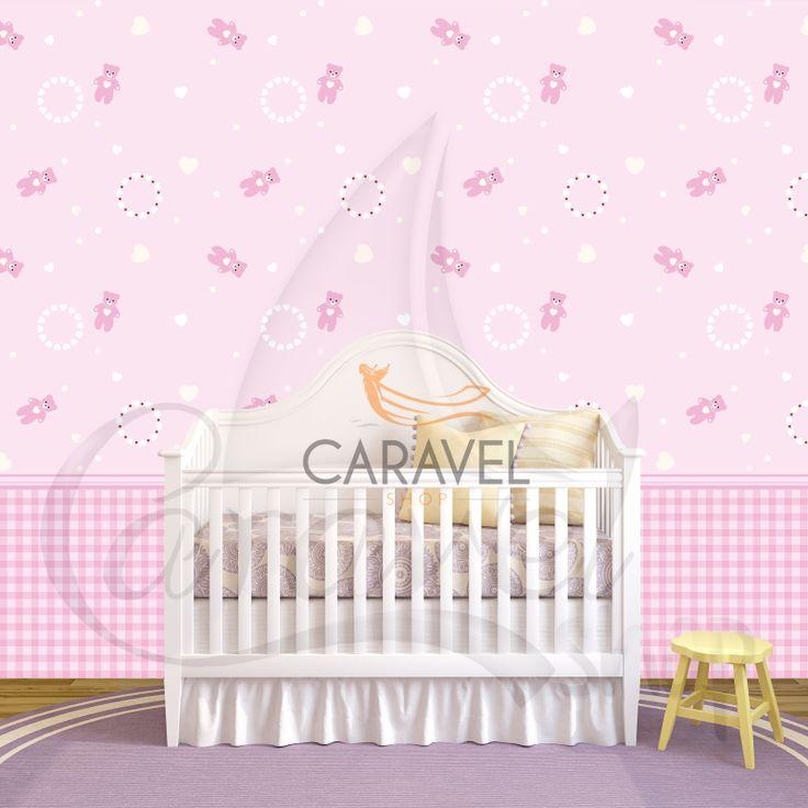 Παιδική Ταπετσαρία τοίχου με ροζ αρκουδάκια