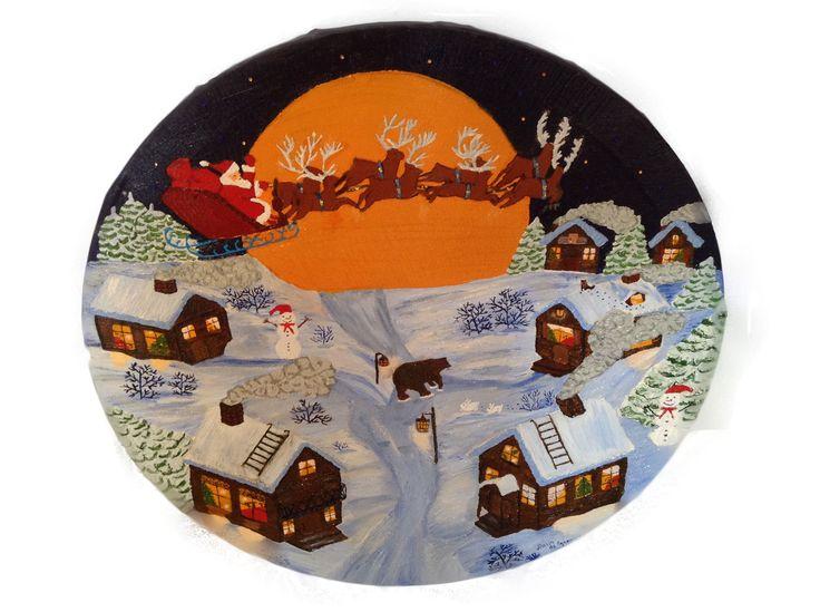 """Картина """"Ночь под Новый год"""" Холст, масло, Размер 40*50. Детские мечты просыпаются, сказка оживает, волшебства в ночи мы ждем. Сначала морозный день, а потом темная синяя ночь и звездное небо окутывает город.  Детские сердца наполняются радостью. И мы с замиранием сердца отсчитываем последние минуты уходящего года. Новый год проносится над деревнями, лесами и горами. Он заполняет каждый дом и дарит нам счастье."""