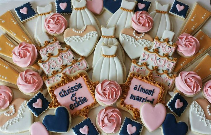 navy/pink/white & gold bridal shower platter | Cookie Connection