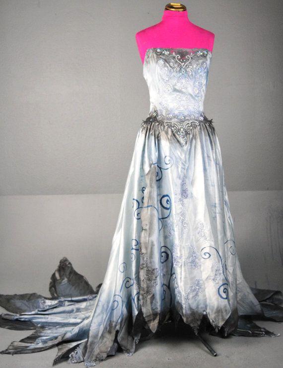 Tim Burton Corpse Bride Wedding Zombie Dress gown by LotofVIntage, $229.00