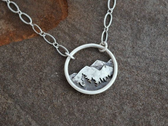 Circle Mountain Landscape Necklace  Sterling by GatherAndFlow