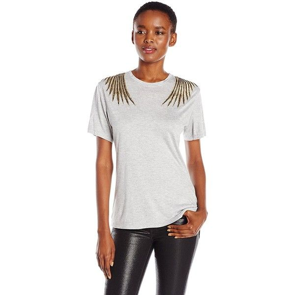Haute Hippie Women's Eagle Tee ($83) ❤ liked on Polyvore featuring tops, t-shirts, haute hippie t shirt, over the shoulder tops, eagle tee, modal tee and haute hippie tee