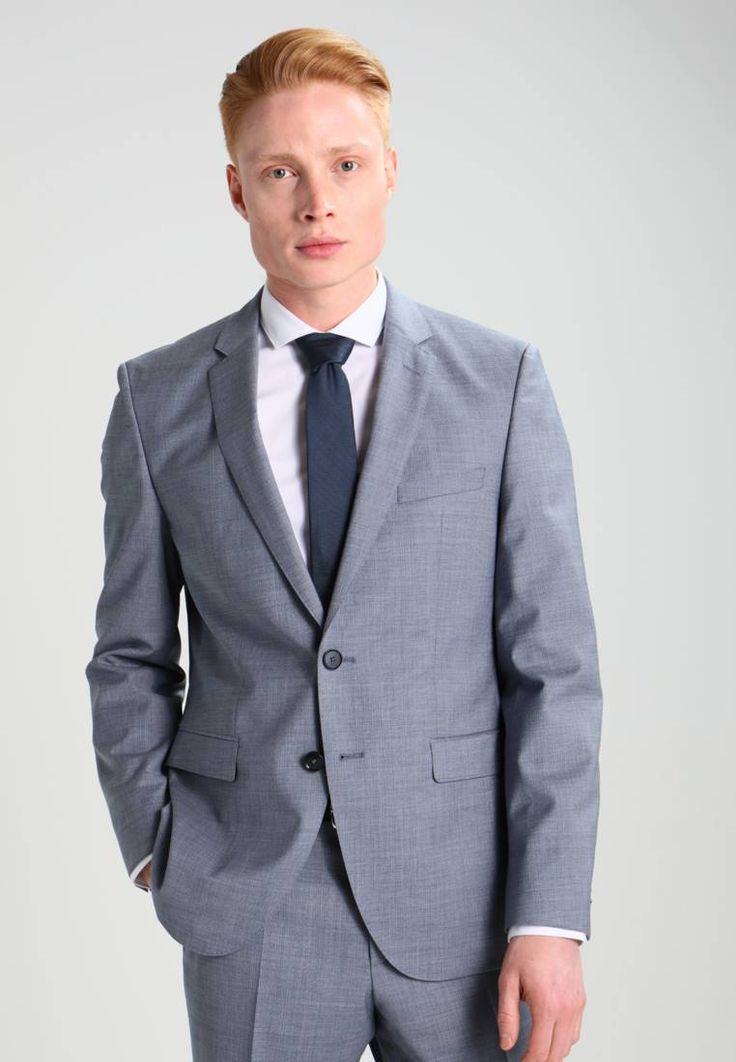 """HUGO. Suit - blue. Outer fabric material:100% wool. Pattern:marl. Care instructions:Dry clean only. Sleeve length:long,26.0 """" (Size 40R). Back width:18.5 """" (Size 40R). outer leg length:42.5 """" (Size 40R). Fit:regular...."""