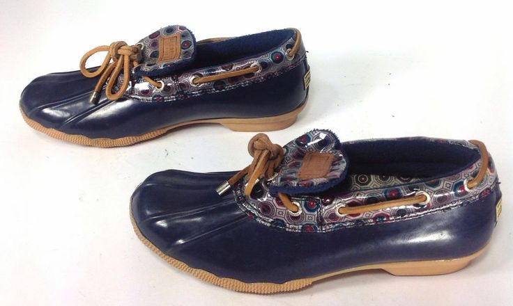 s blue sperry rubber duck boots top sider slip