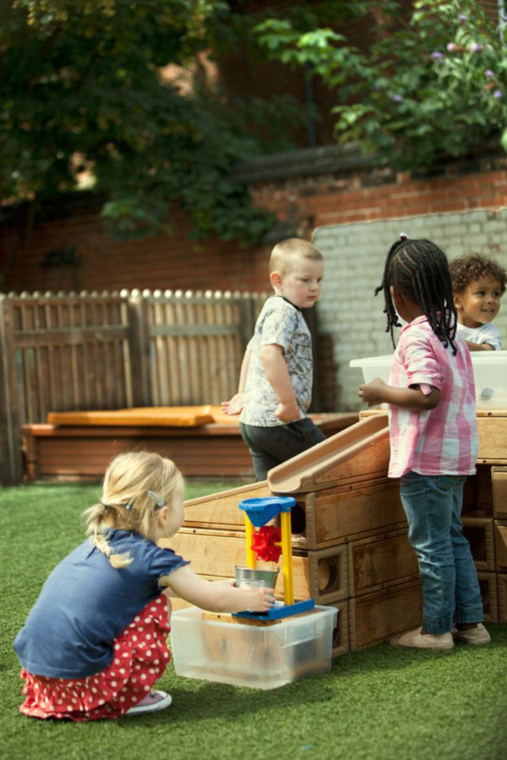 """""""Water is one of the basic raw materials for purposeful play. Just like sand, clay and blocks, children can use water without being constrained by the one right way to use it,"""" writes Sandra Crosser, Ph.D."""