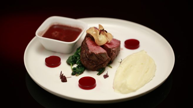 Beef Fillet with Parsnip Purée, Beetroot & Red Wine Discs and Red Wine Jus-2014