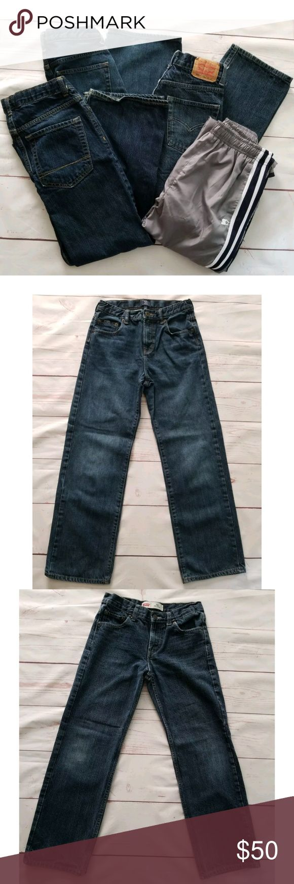 4 Pc Lot Boys Sz 14 Jeans & Athletic Pants 4 Piece Lot, Gap Levi's & Old Navy Boys Jeans & Starter Active Athletic Pants  Gap Loose Fit Jeans, Dark Wash, Adjustable Waist, Straight Leg, 28 Inch Waist, 28 Inch Inseam, 100% Cotton, Size 14 Levis 550 Relaxed Jeans, Dark Wash, Straight Leg, 27 Inch Waist, 27 Inch Inseam, 100% Cotton, Size 14 Old Navy Jeans, Dark Wash, Boot Cut, 28 inch Waist, 27.5 Inch Inseam, 100% Cotton, Size 14 Starter Active Athletic Pants, Gray Black & White, Completely…