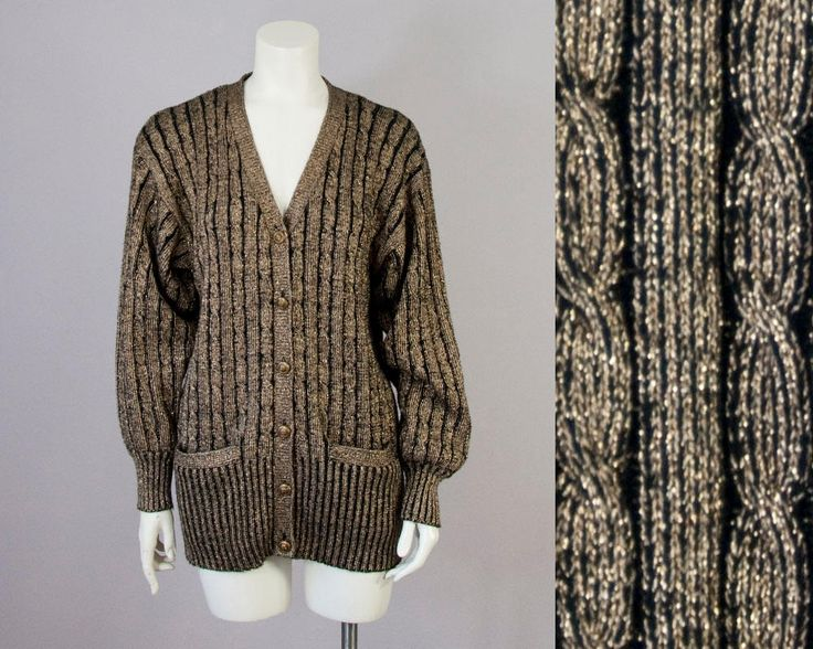 80s Vintage Gold Metallic Cable Knit Slouchy Cardigan (XS, S, M) by vintageonlythebest on Etsy