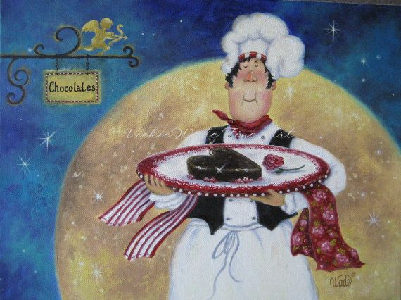 Chocolate Chef Art Print fat chefs pastry chefs valentines art, chef paintings, kitchen chef wall decor, Vickie Wade Art