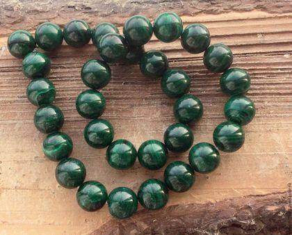 Для украшений ручной работы. Ярмарка Мастеров - ручная работа. Купить Малахит натуральный шар 11 мм бусины камни для украшений. Handmade.