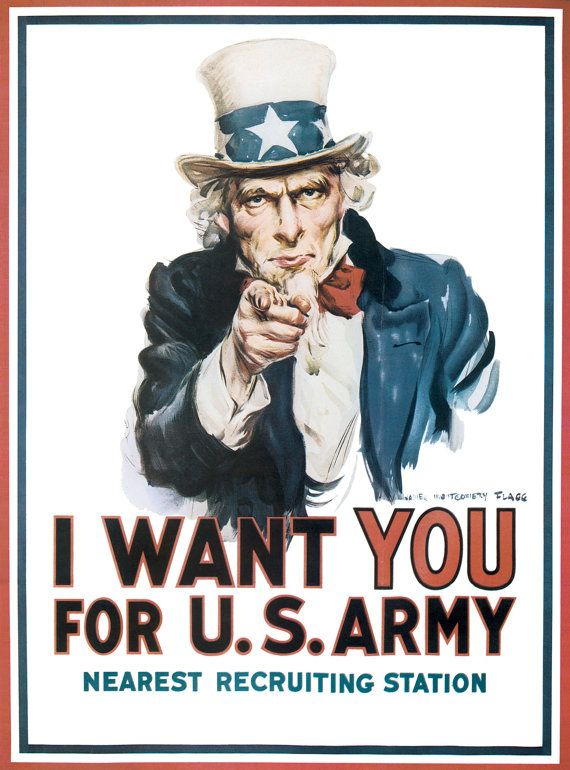"""World War I Poster  of Uncle Sam  """"I Want You For U.S. Army"""" https://www.etsy.com/listing/197041330/world-war-i-poster-uncle-sam-i-want-you download today! #army #military"""