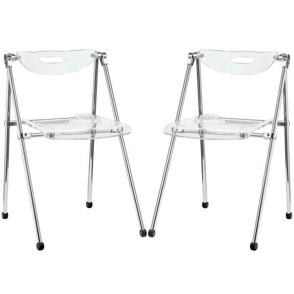 2 Telescope Modern Clear Acrylic Side Chairs