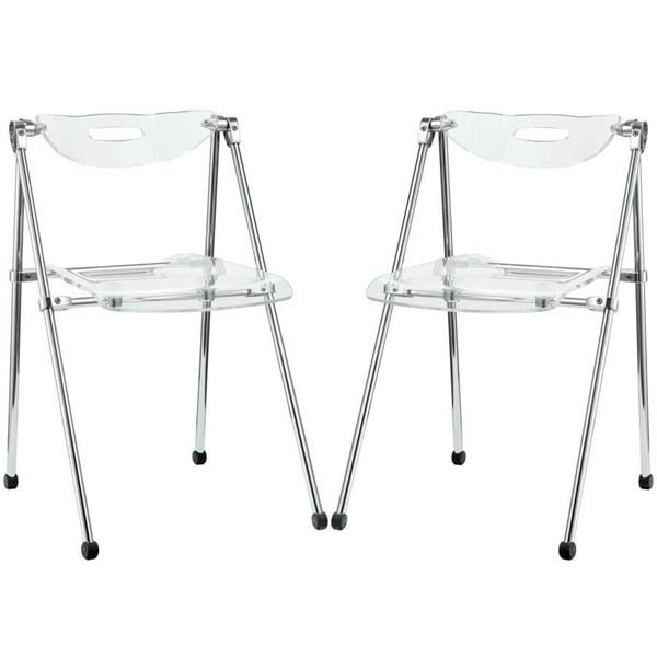 2 Clear Acrylic Telescope Dinette Chairs EEI-923-CLR