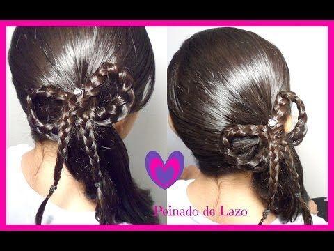 ▶ Peinado: Coleta Con Trenza De Lazo/Moño| Peinados Para Ninas|CositasyManualidades - YouTube