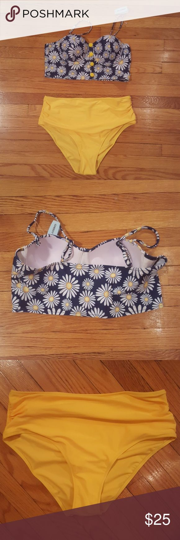 NWT high waist bikini Very cute, never worn bikini just in time for summer! Daisy print on top with shaped cups and yellow high waist bottoms. Swim Bikinis