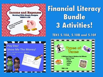 This bundle contains 3 of my most popular financial literacy games and activities.  Buy all 3 saves you money! You will get the following:Types of Taxes Board GameThis download is a fun board game to reinforce and practice defining the four types of taxes in 5.10A --- Income, Property, Sales and Payroll.