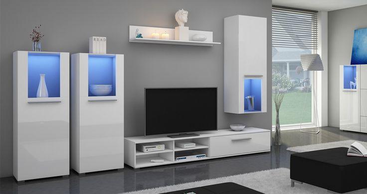 Nowoczesna biała meblościanka z oświetleniem LED. http://www.aaaameble.pl/ #nowoczesnemeble #mebledosalonu #meble #minimalistycznemeble #mebleniemieckie #dom #aranzacjedom #aranzacje