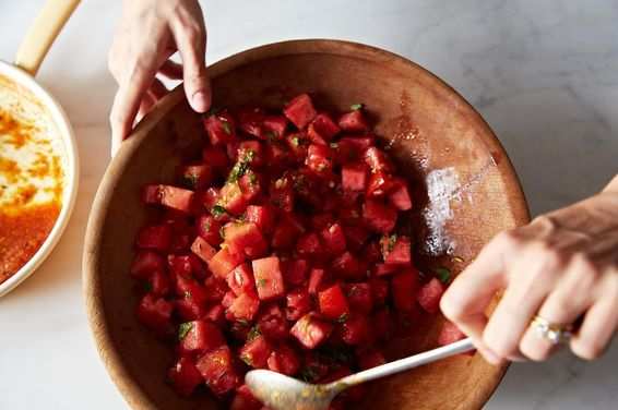 Watermelon Tomato Salad with Cumin and Fennel, a recipe on Food52