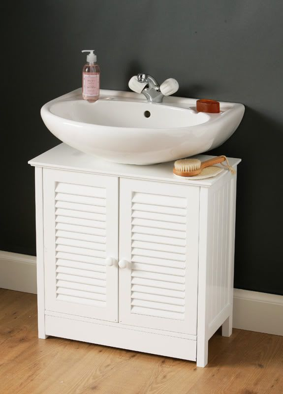 Pedestal Sink Bathroom Design Ideas With White Storage Cabinet And