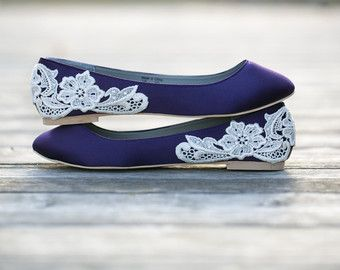 Wedding Flats - Purple Wedding Shoes/Purple Wedding Flats, Purple Flats with Ivory Lace. US Size 7.