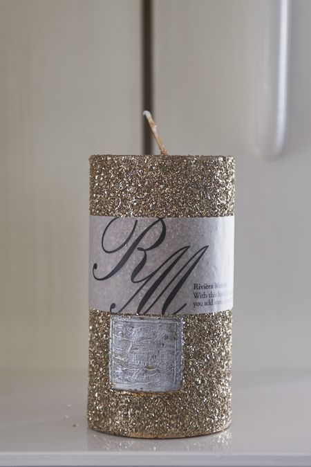 Gold Sparkle Candle 13x7