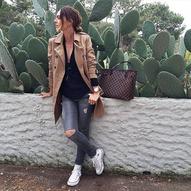 Ce n'est pas encore l'été ici ! #jeveuxenfilerunshortmerde jean #zara trench #mango top #sandro Shoes converse sac LV