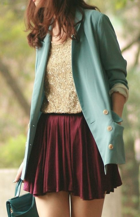 Gold and burgundy are rich for fall, and the robins egg blue blazer keeps it sweet.