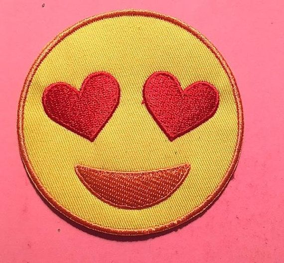 HEART EYES EMOJI  Iron On Embroidered Patch Emojis