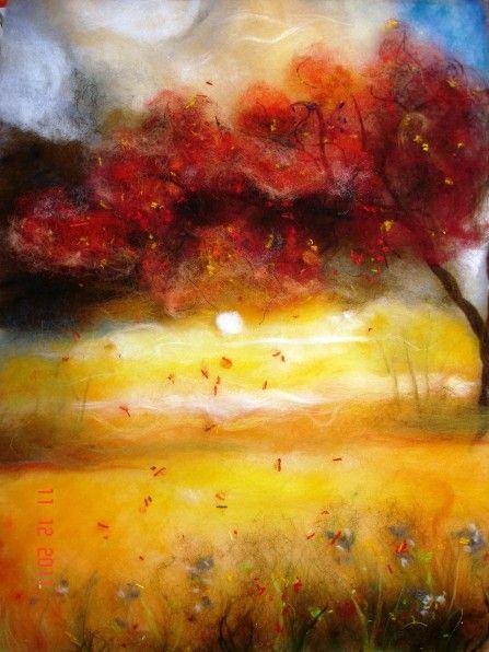 141, Нетронина Наталья, Времена года-Осень, шерсть, акрил, вискоза(шерстяная…