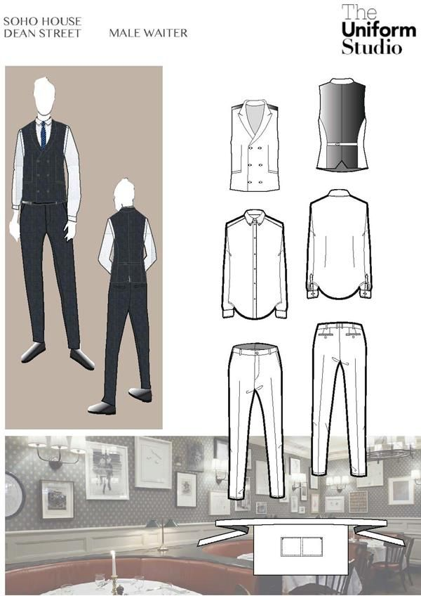 male waitstaff uniform for 76 Dean Street, Prince of Wales, double breasted waistcoat,  traditional tailoring