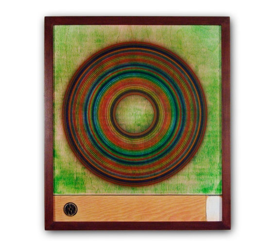 Mid Century Modern Green Acrylic Circles on Birch by RedDoveArt, $250.00